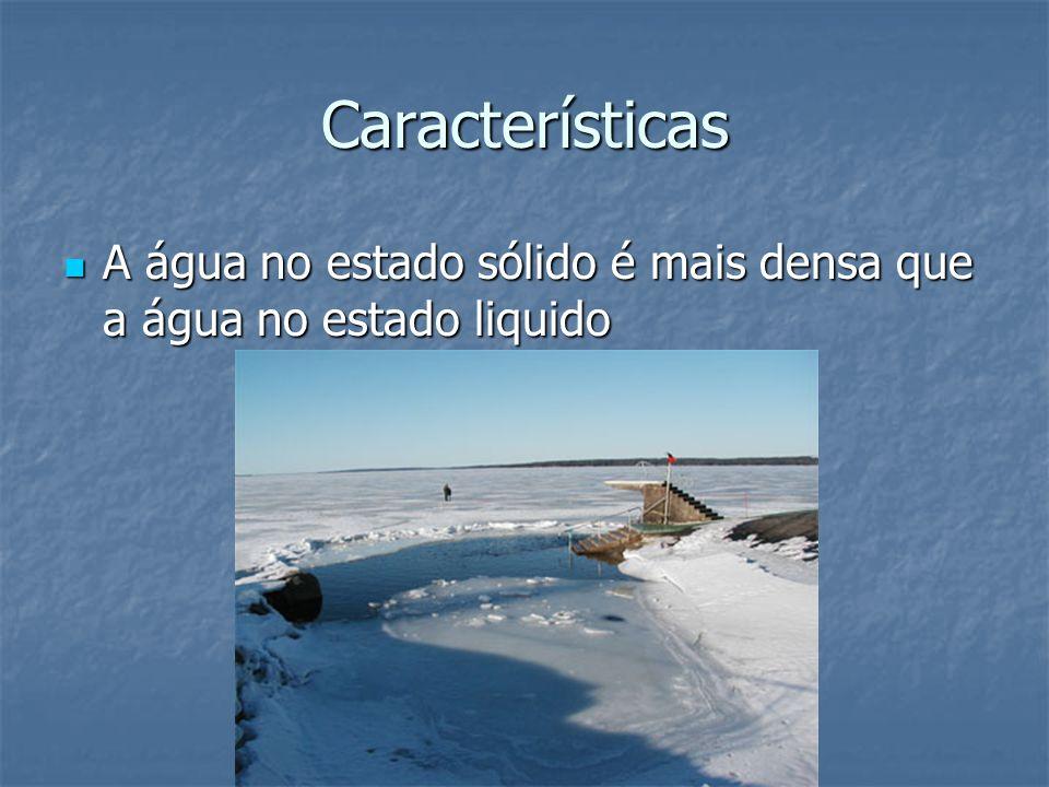 Características A água no estado sólido é mais densa que a água no estado liquido A água no estado sólido é mais densa que a água no estado liquido