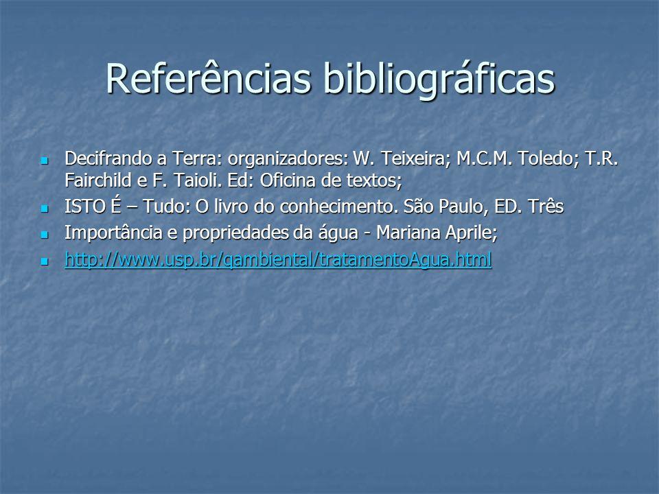 Referências bibliográficas Decifrando a Terra: organizadores: W. Teixeira; M.C.M. Toledo; T.R. Fairchild e F. Taioli. Ed: Oficina de textos; Decifrand