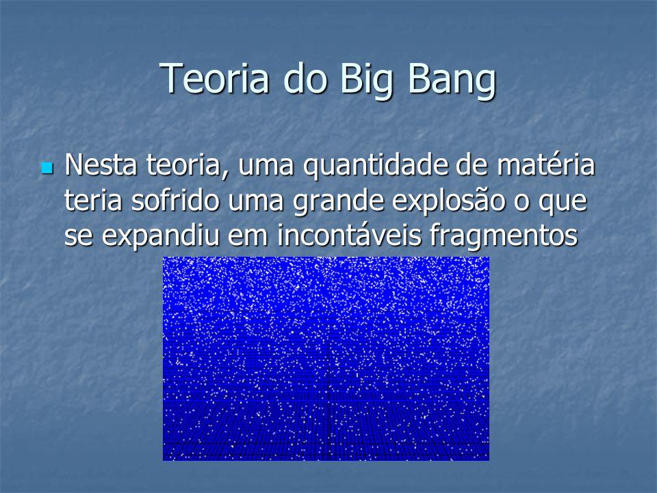 Teoria do Big Bang Nesta teoria, uma quantidade de matéria teria sofrido uma grande explosão o que se expandiu em incontáveis fragmentos Nesta teoria,