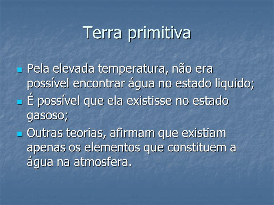 Terra primitiva Pela elevada temperatura, não era possível encontrar água no estado liquido; Pela elevada temperatura, não era possível encontrar água