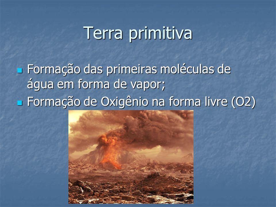 Terra primitiva Formação das primeiras moléculas de água em forma de vapor; Formação das primeiras moléculas de água em forma de vapor; Formação de Ox
