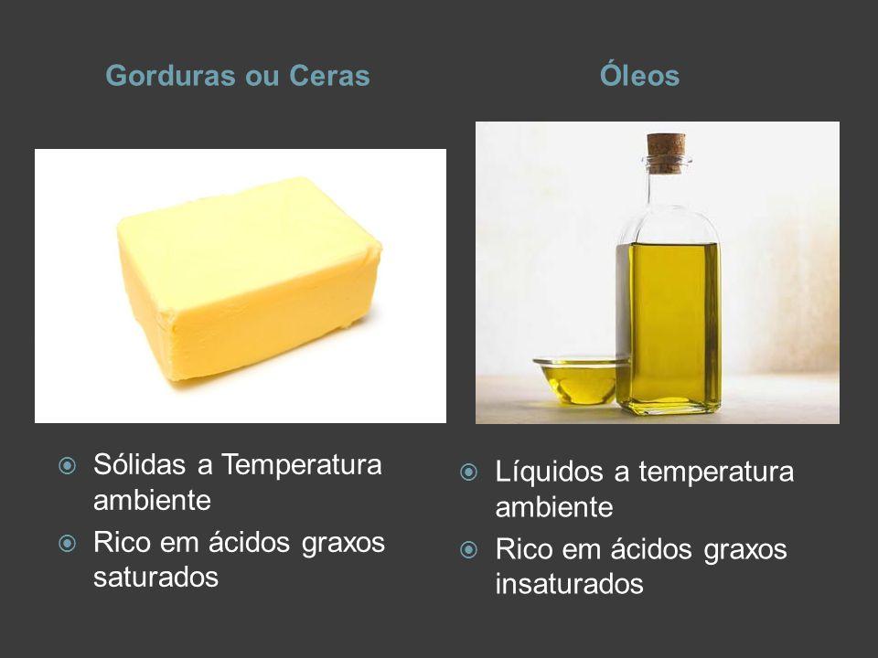 Gorduras ou CerasÓleos Sólidas a Temperatura ambiente Rico em ácidos graxos saturados Líquidos a temperatura ambiente Rico em ácidos graxos insaturado