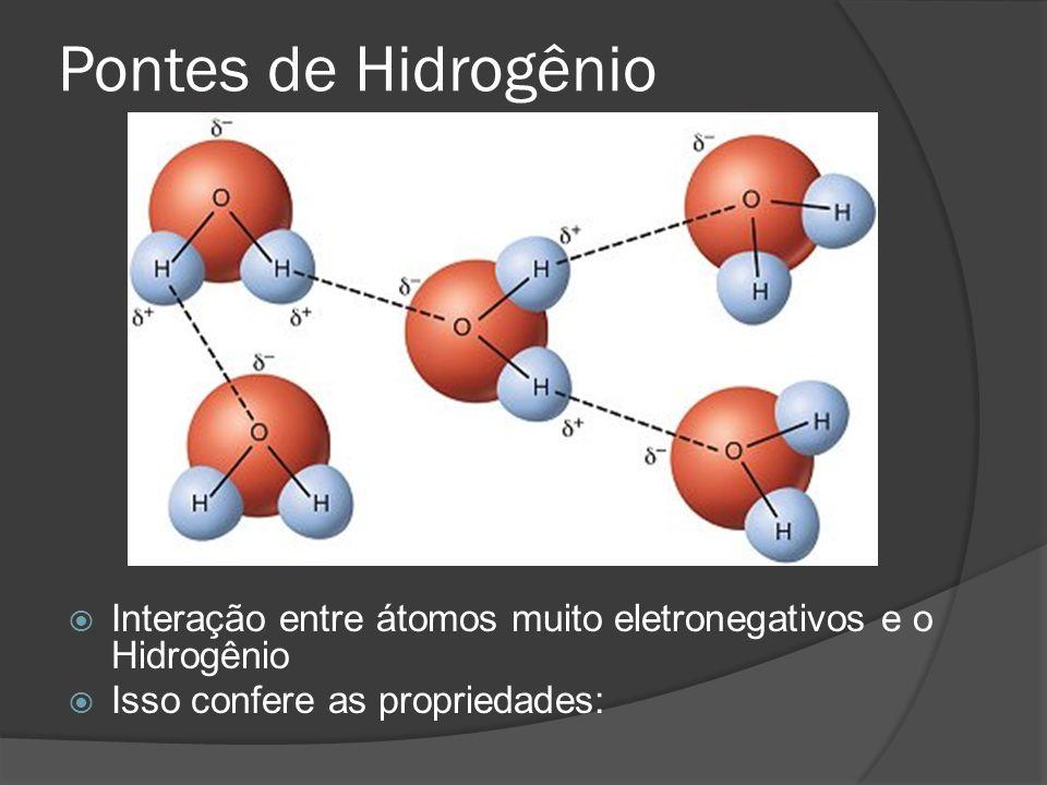 Pontes de Hidrogênio Interação entre átomos muito eletronegativos e o Hidrogênio Isso confere as propriedades: