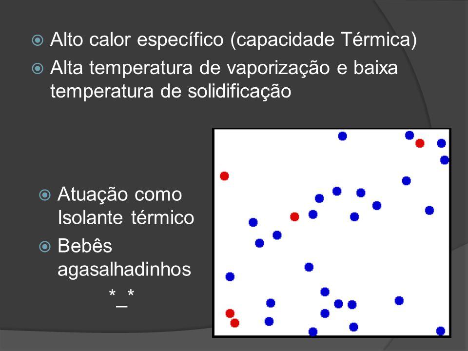 Alto calor específico (capacidade Térmica) Alta temperatura de vaporização e baixa temperatura de solidificação Atuação como Isolante térmico Bebês ag