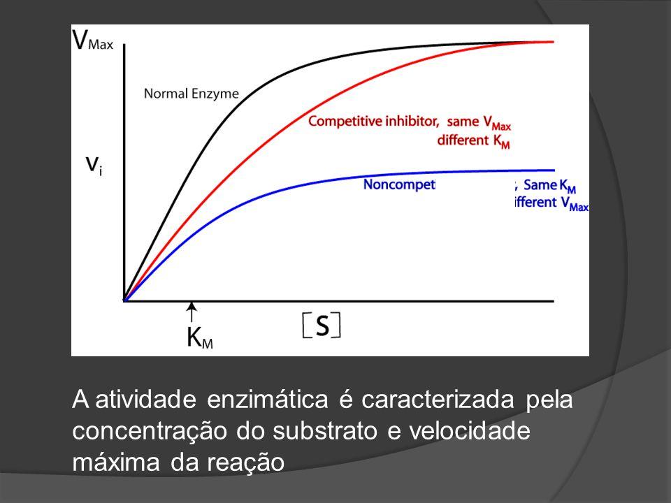 A atividade enzimática é caracterizada pela concentração do substrato e velocidade máxima da reação