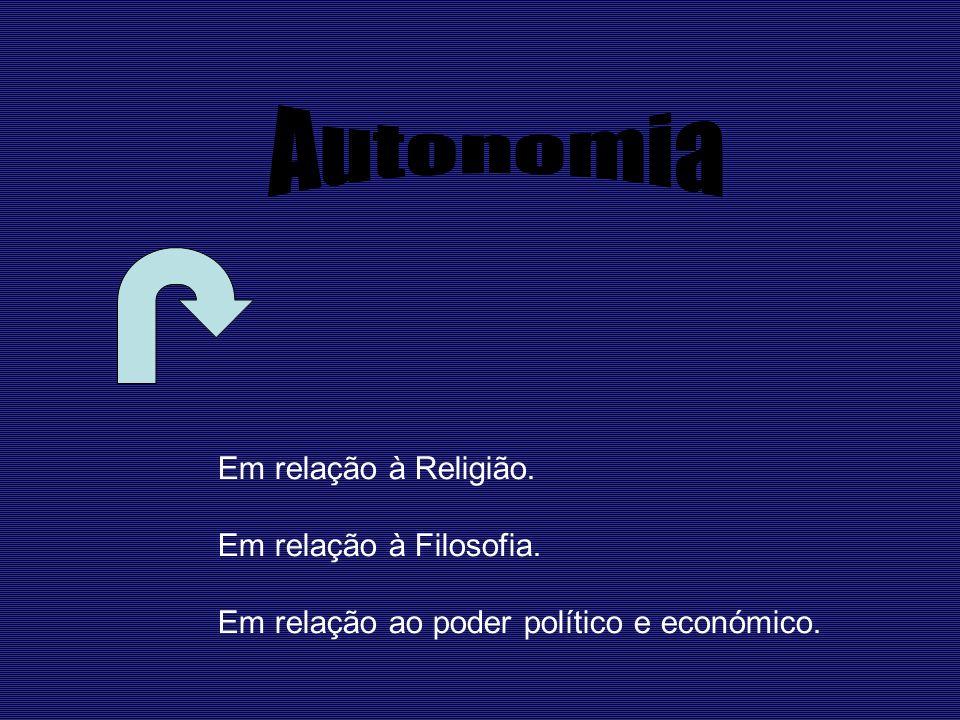 Em relação à Religião. Em relação à Filosofia. Em relação ao poder político e económico.