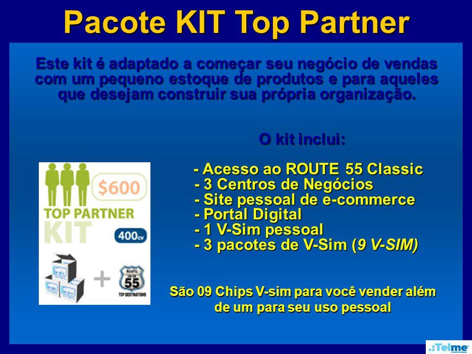 Pacote KIT Top Partner Este kit é adaptado a começar seu negócio de vendas com um pequeno estoque de produtos e para aqueles que desejam construir sua própria organização.