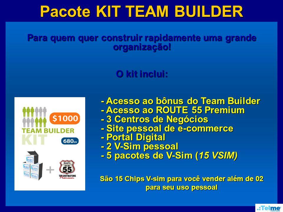 Pacote KIT TEAM BUILDER Para quem quer construir rapidamente uma grande organização.