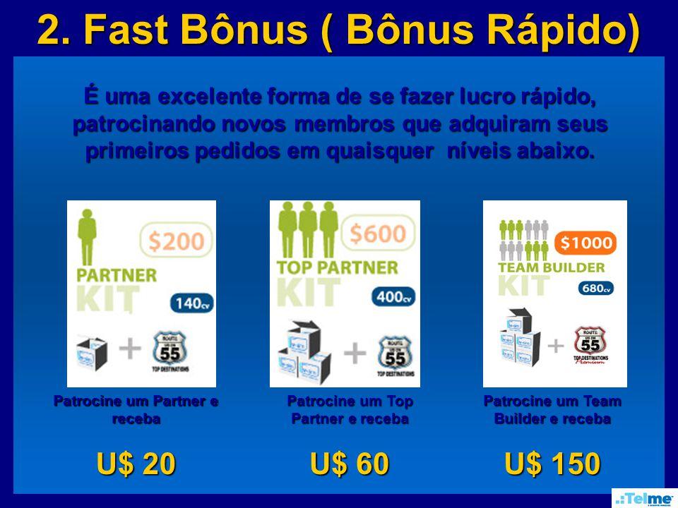 2. Fast Bônus ( Bônus Rápido) É uma excelente forma de se fazer lucro rápido, patrocinando novos membros que adquiram seus primeiros pedidos em quaisq