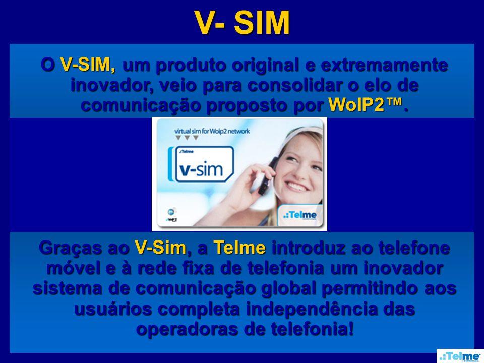 V- SIM O V-SIM, um produto original e extremamente inovador, veio para consolidar o elo de comunicação proposto por WoIP2.