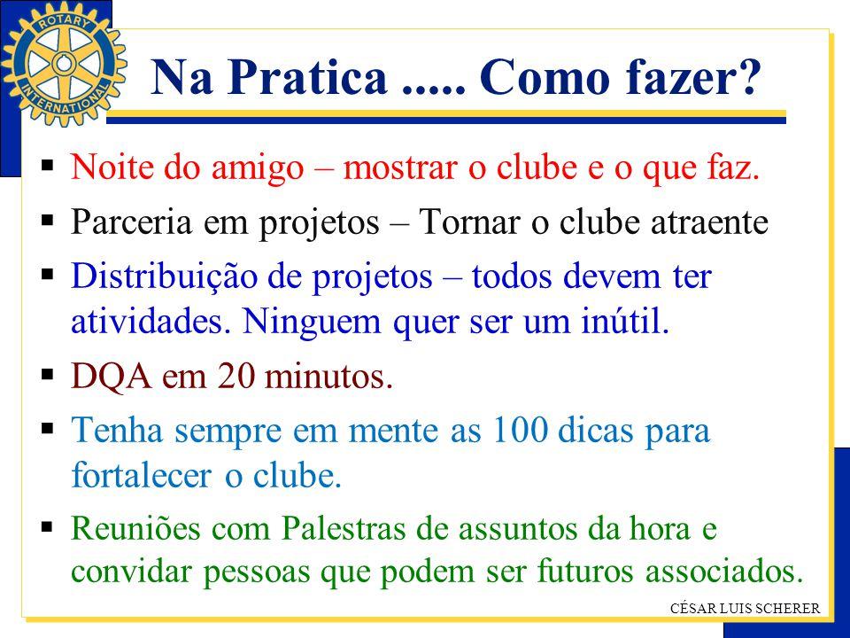 CÉSAR LUIS SCHERER Na Pratica..... Como fazer? Noite do amigo – mostrar o clube e o que faz. Parceria em projetos – Tornar o clube atraente Distribuiç