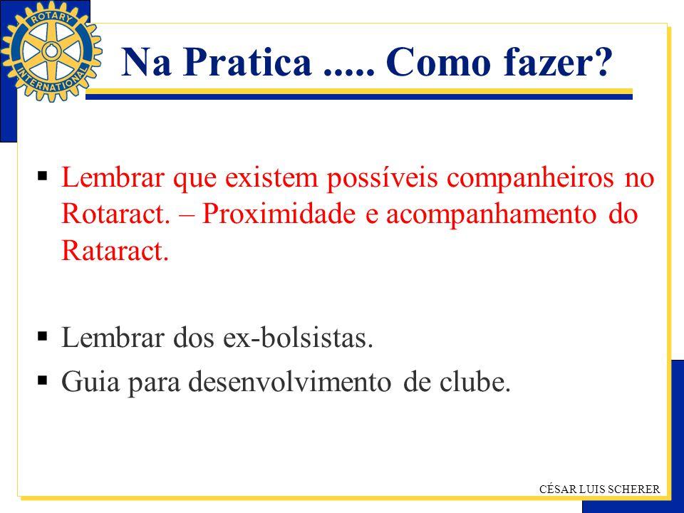 CÉSAR LUIS SCHERER Na Pratica..... Como fazer? Lembrar que existem possíveis companheiros no Rotaract. – Proximidade e acompanhamento do Rataract. Lem