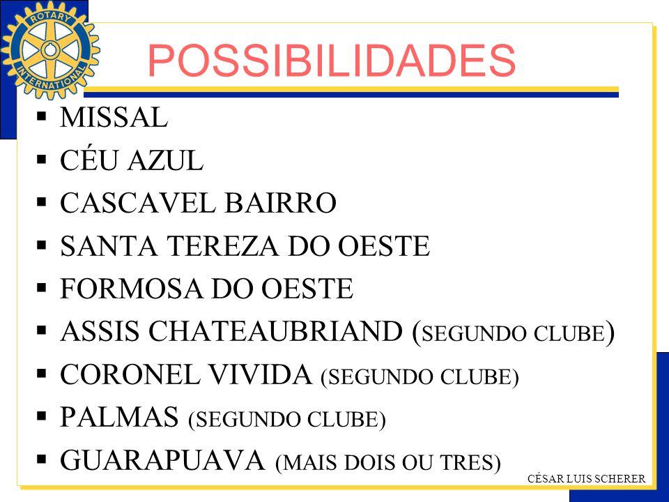 CÉSAR LUIS SCHERER MISSAL CÉU AZUL CASCAVEL BAIRRO SANTA TEREZA DO OESTE FORMOSA DO OESTE ASSIS CHATEAUBRIAND ( SEGUNDO CLUBE ) CORONEL VIVIDA (SEGUND