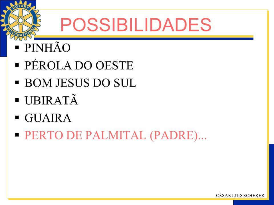 CÉSAR LUIS SCHERER PINHÃO PÉROLA DO OESTE BOM JESUS DO SUL UBIRATÃ GUAIRA PERTO DE PALMITAL (PADRE)... POSSIBILIDADES