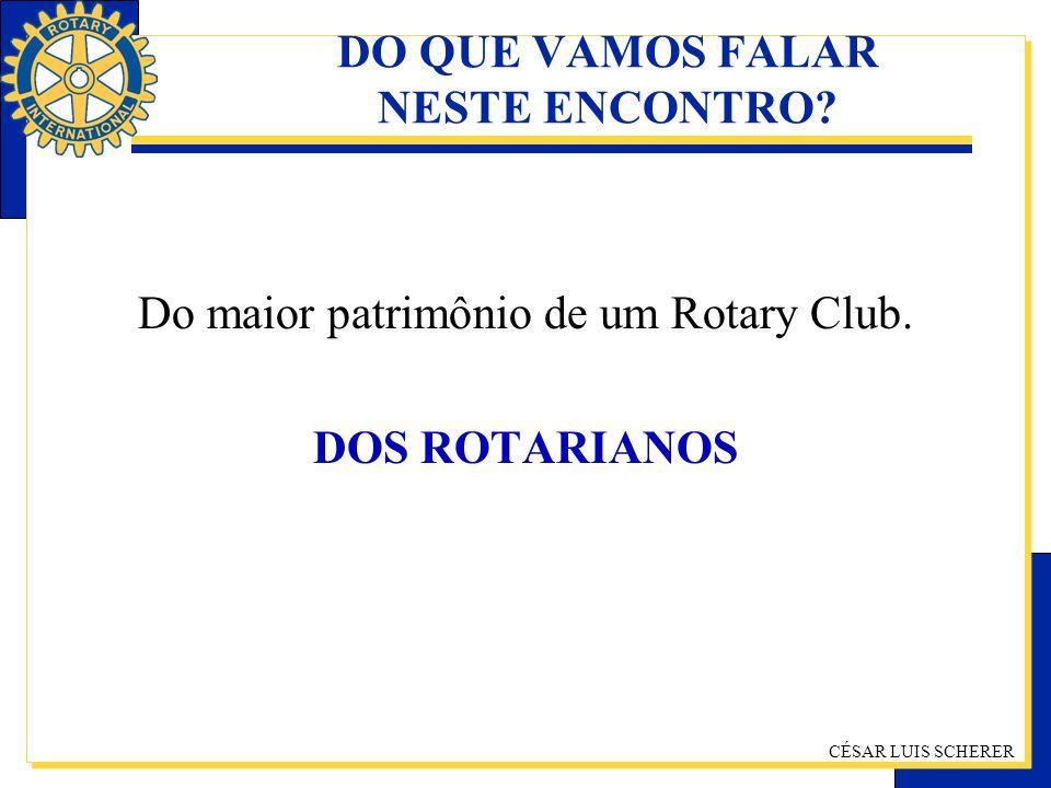 CÉSAR LUIS SCHERER DO QUE VAMOS FALAR NESTE ENCONTRO? Do maior patrimônio de um Rotary Club. DOS ROTARIANOS