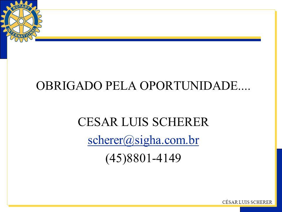 CÉSAR LUIS SCHERER OBRIGADO PELA OPORTUNIDADE.... CESAR LUIS SCHERER scherer@sigha.com.br (45)8801-4149