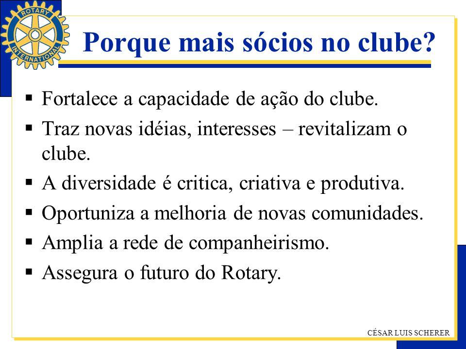 CÉSAR LUIS SCHERER Porque mais sócios no clube? Fortalece a capacidade de ação do clube. Traz novas idéias, interesses – revitalizam o clube. A divers