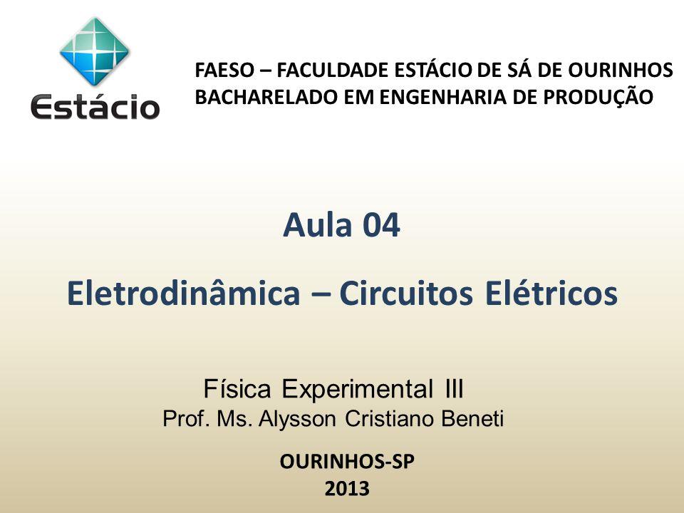Física Experimental III Prof. Ms. Alysson Cristiano Beneti FAESO – FACULDADE ESTÁCIO DE SÁ DE OURINHOS BACHARELADO EM ENGENHARIA DE PRODUÇÃO Aula 04 E