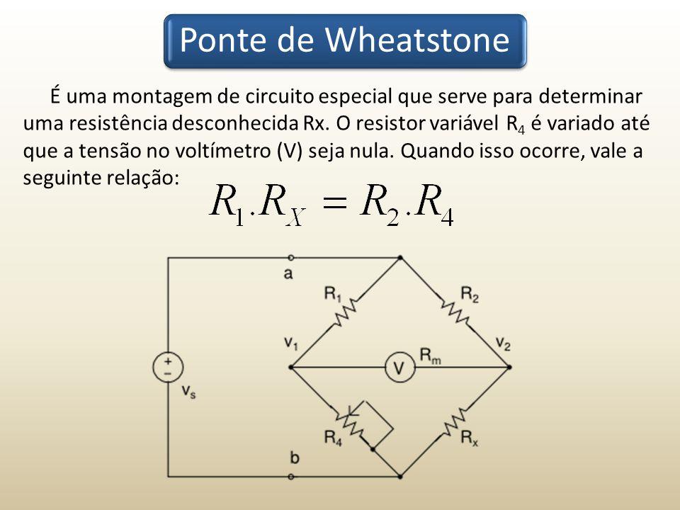 Ponte de Wheatstone É uma montagem de circuito especial que serve para determinar uma resistência desconhecida Rx. O resistor variável R 4 é variado a