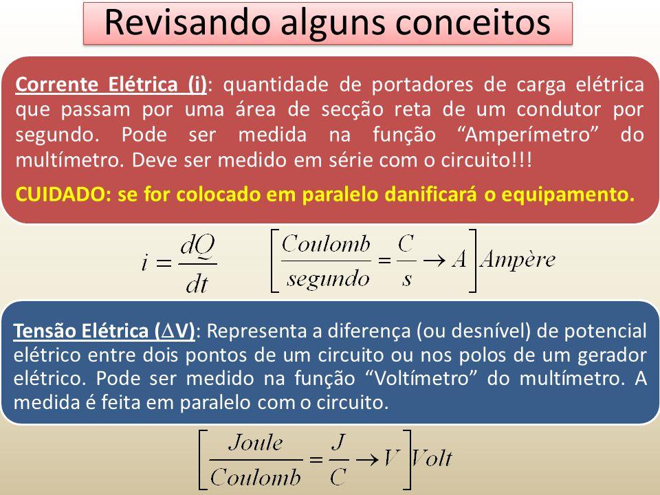 Revisando alguns conceitos Tensão Elétrica ( V): Representa a diferença (ou desnível) de potencial elétrico entre dois pontos de um circuito ou nos po