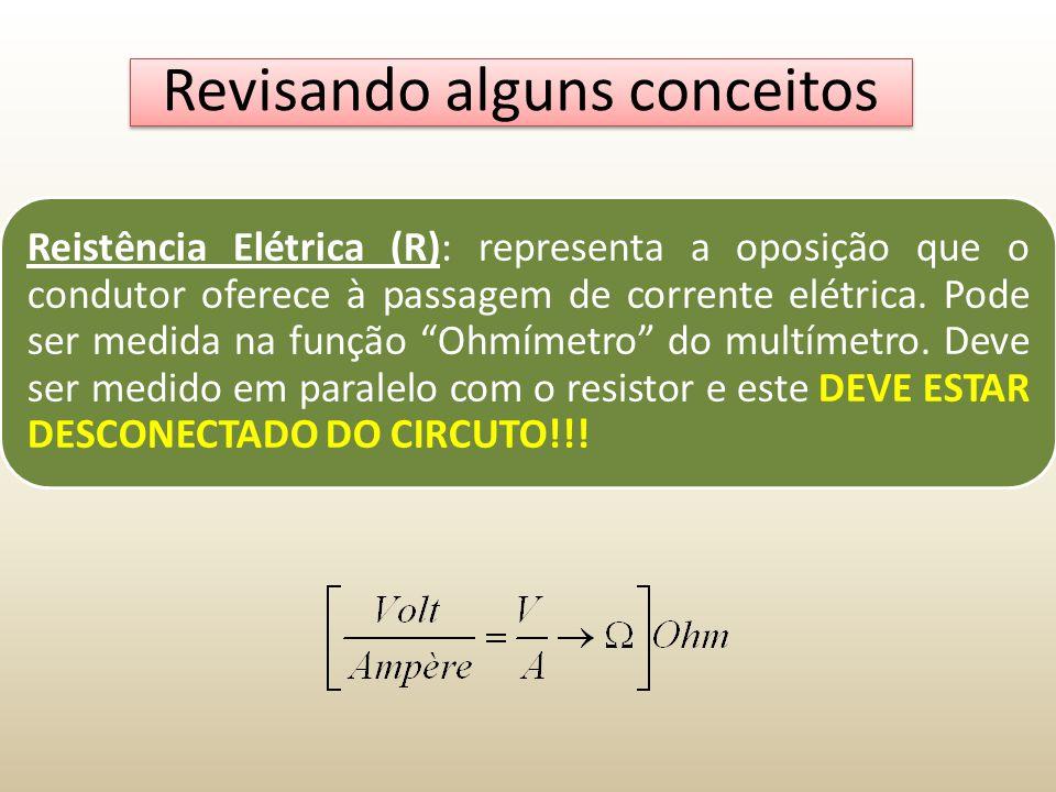 Revisando alguns conceitos Reistência Elétrica (R): representa a oposição que o condutor oferece à passagem de corrente elétrica. Pode ser medida na f