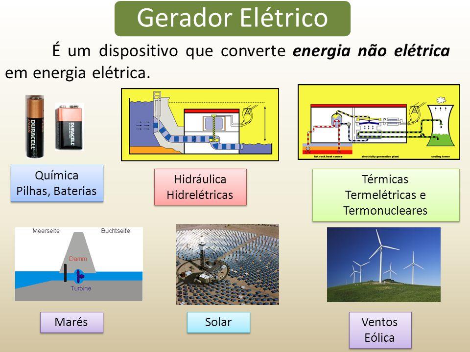 Gerador Elétrico É um dispositivo que converte energia não elétrica em energia elétrica. Química Pilhas, Baterias Química Pilhas, Baterias Hidráulica