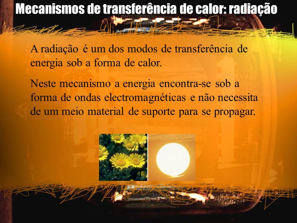 Mecanismos de transferência de calor: radiação A radiação é um dos modos de transferência de energia sob a forma de calor. Neste mecanismo a energia e