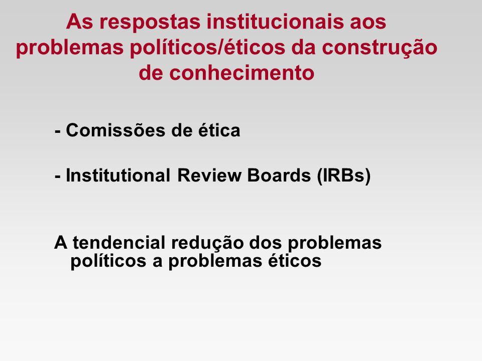 As respostas institucionais aos problemas políticos/éticos da construção de conhecimento - Comissões de ética - Institutional Review Boards (IRBs) A t