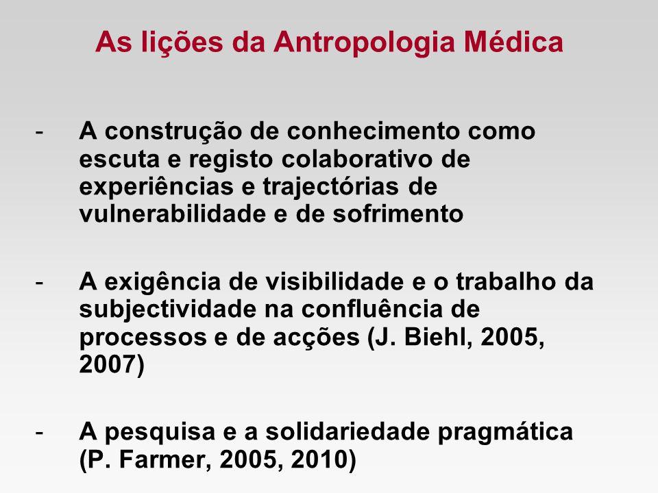 As lições da Antropologia Médica -A construção de conhecimento como escuta e registo colaborativo de experiências e trajectórias de vulnerabilidade e