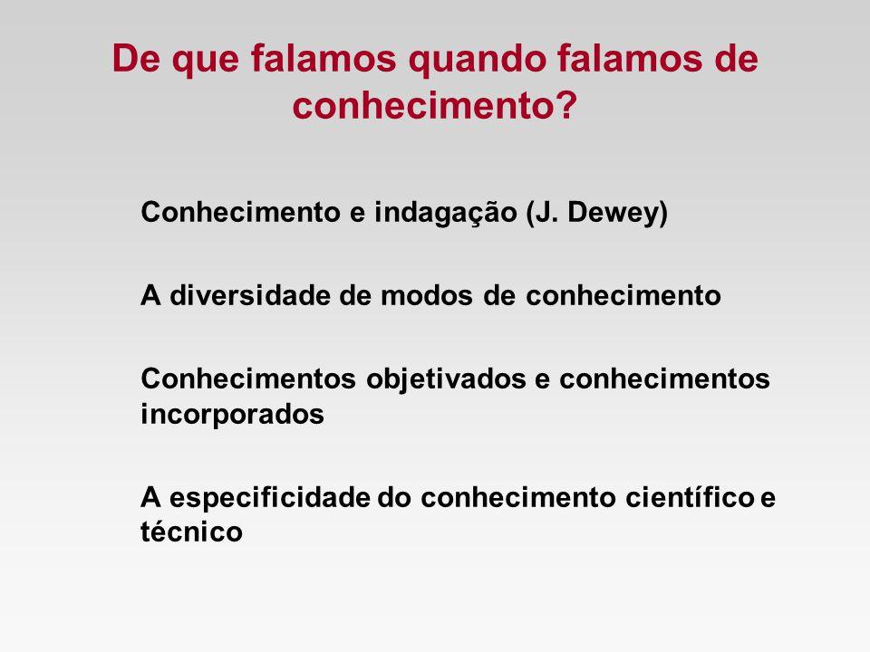 De que falamos quando falamos de conhecimento? Conhecimento e indagação (J. Dewey) A diversidade de modos de conhecimento Conhecimentos objetivados e