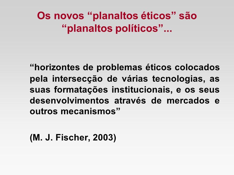 Os novos planaltos éticos sãoplanaltos políticos... horizontes de problemas éticos colocados pela intersecção de várias tecnologias, as suas formataçõ