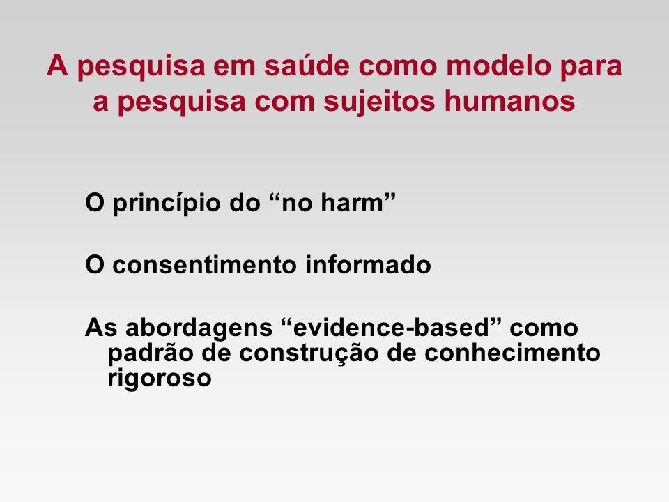 A pesquisa em saúde como modelo para a pesquisa com sujeitos humanos O princípio do no harm O consentimento informado As abordagens evidence-based com