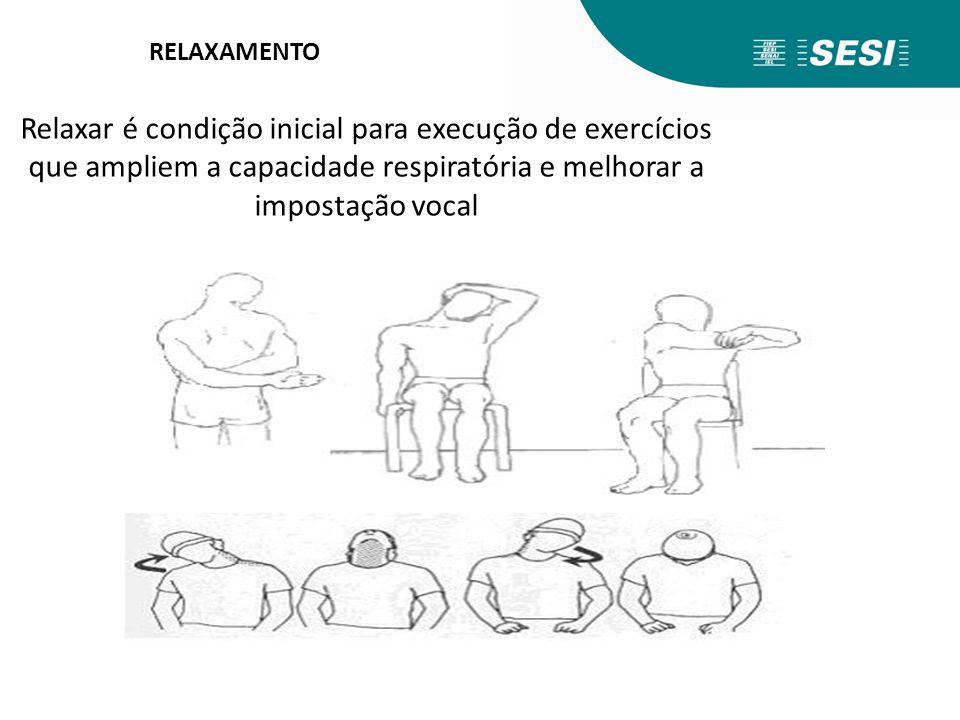 RELAXAMENTO Relaxar é condição inicial para execução de exercícios que ampliem a capacidade respiratória e melhorar a impostação vocal