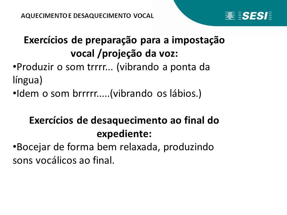 AQUECIMENTO E DESAQUECIMENTO VOCAL Exercícios de preparação para a impostação vocal /projeção da voz: Produzir o som trrrr... (vibrando a ponta da lín