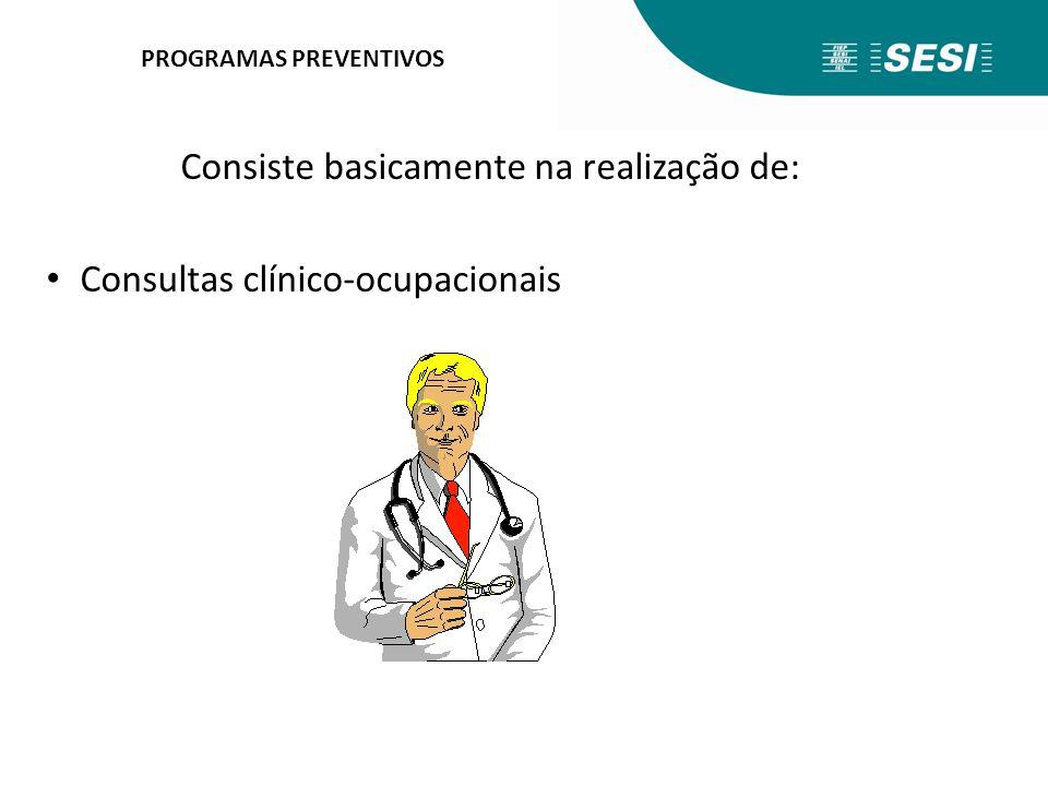 PROGRAMAS PREVENTIVOS Consiste basicamente na realização de: Consultas clínico-ocupacionais