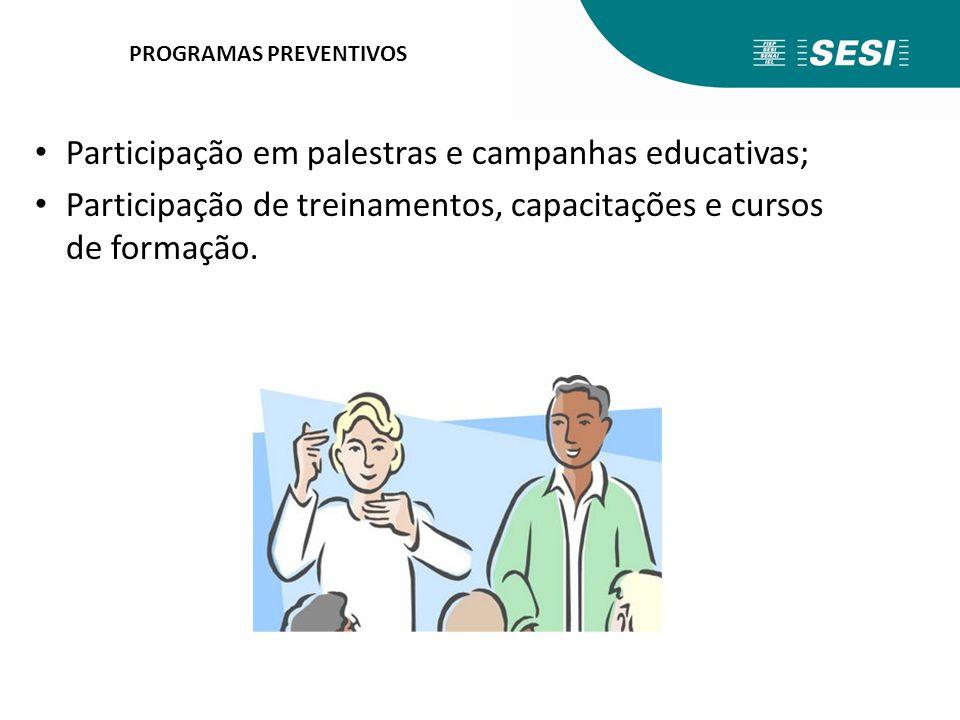 PROGRAMAS PREVENTIVOS Participação em palestras e campanhas educativas; Participação de treinamentos, capacitações e cursos de formação.