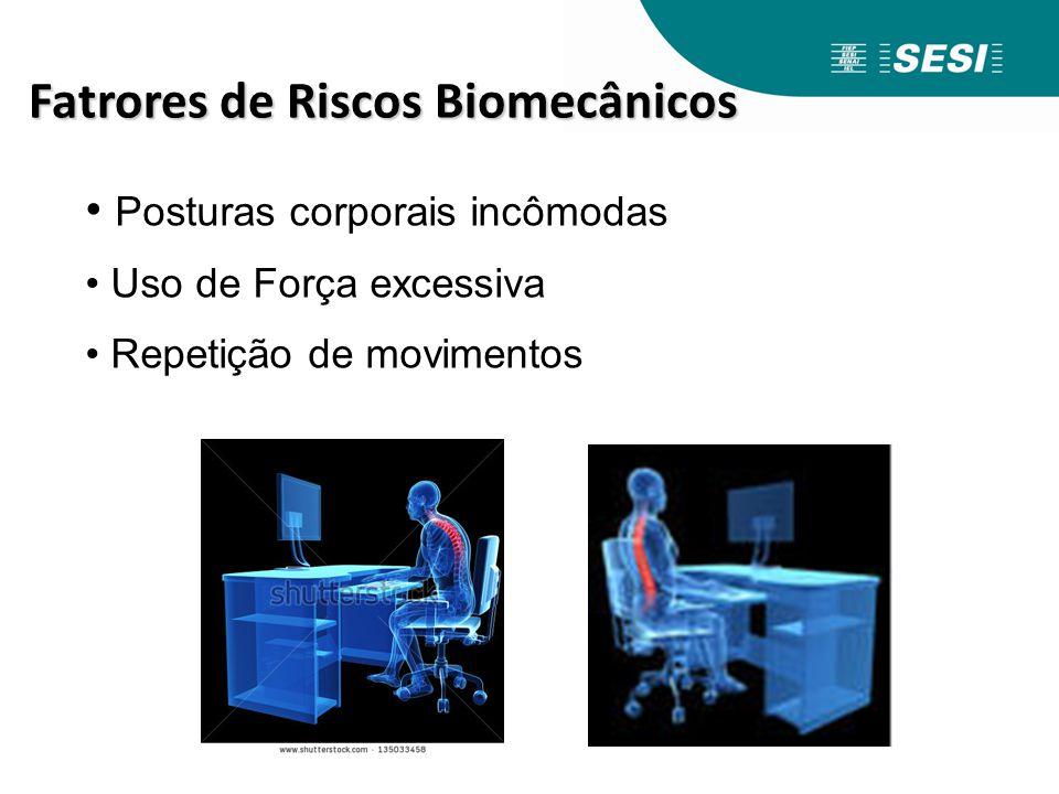 Posturas corporais incômodas Uso de Força excessiva Repetição de movimentos Fatrores de Riscos Biomecânicos