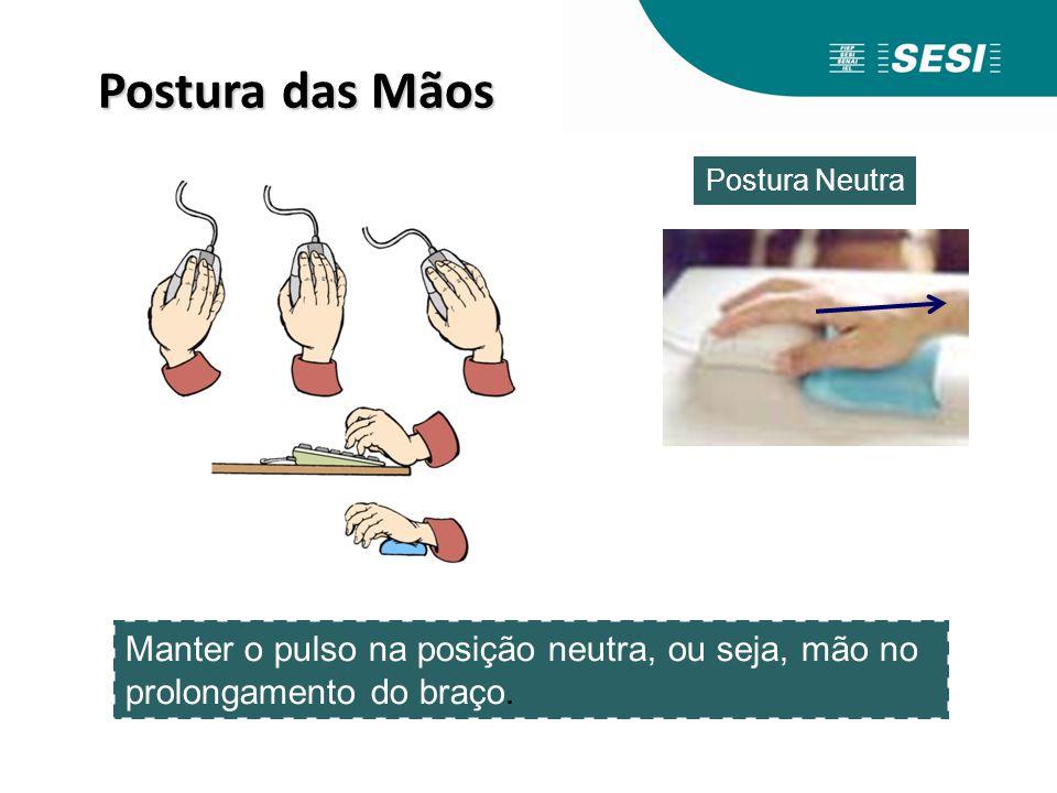 Postura das Mãos Manter o pulso na posição neutra, ou seja, mão no prolongamento do braço. Postura Neutra