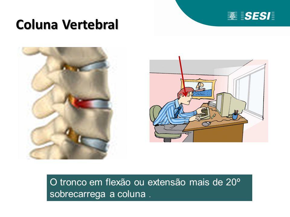 Coluna Vertebral Coluna Vertebral O tronco em flexão ou extensão mais de 20º sobrecarrega a coluna.