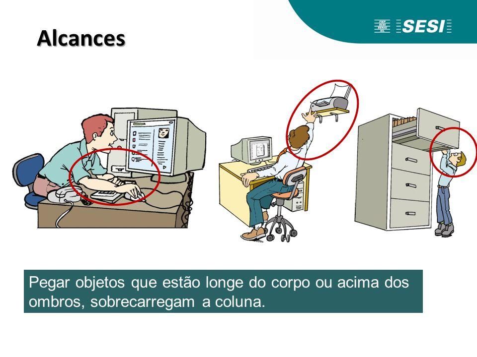 Alcances Pegar objetos que estão longe do corpo ou acima dos ombros, sobrecarregam a coluna.