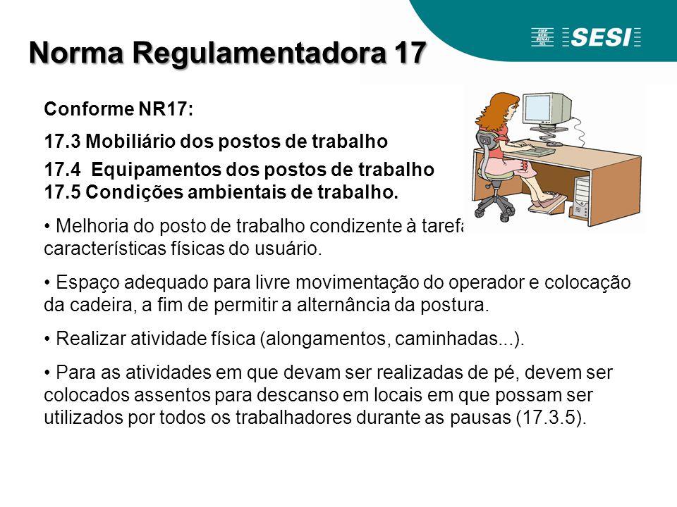 Conforme NR17: 17.3 Mobiliário dos postos de trabalho 17.4 Equipamentos dos postos de trabalho 17.5 Condições ambientais de trabalho. Melhoria do post