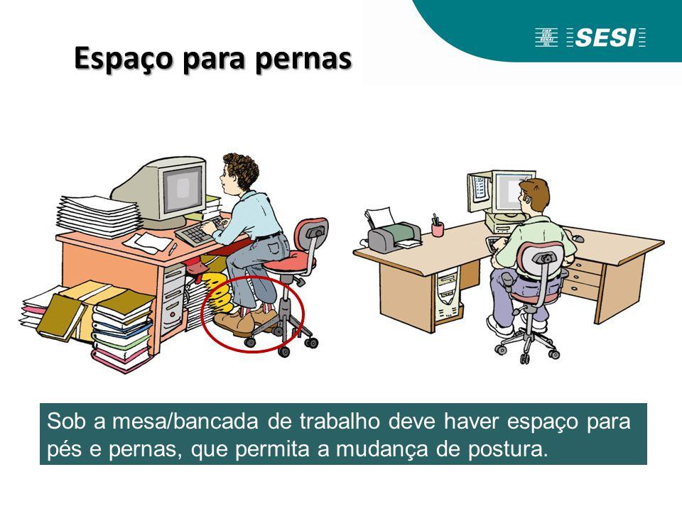 Espaço para pernas Sob a mesa/bancada de trabalho deve haver espaço para pés e pernas, que permita a mudança de postura.