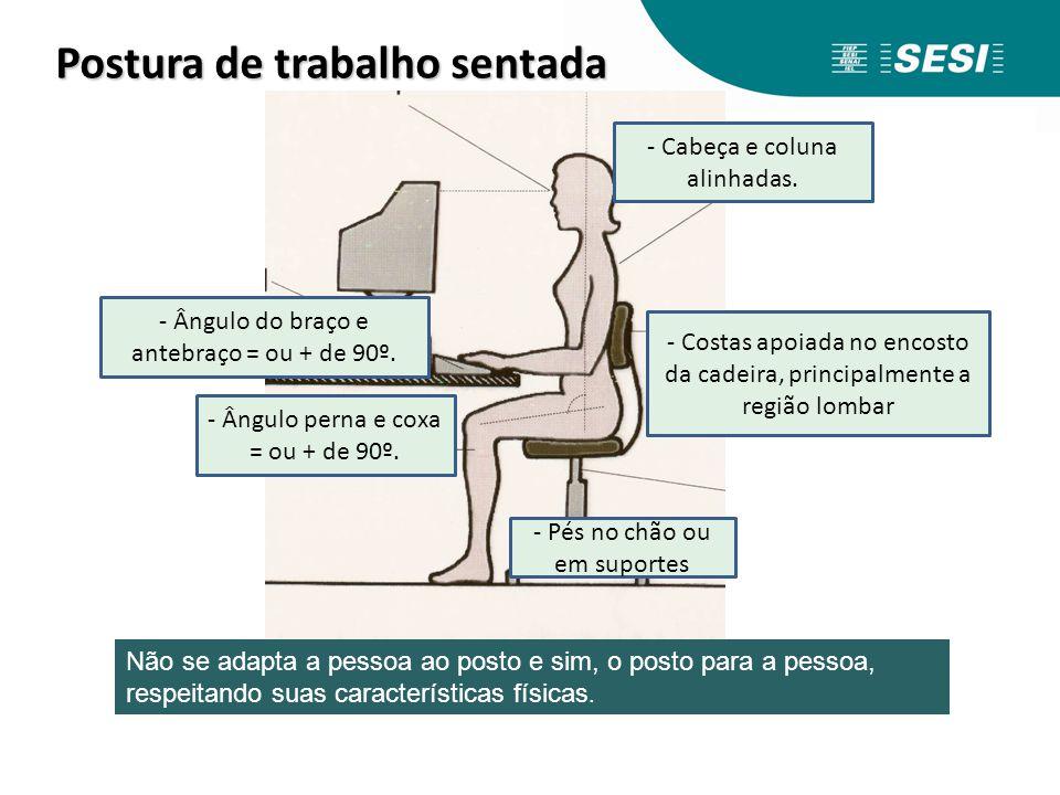 Postura de trabalho sentada Postura de trabalho sentada - Pés no chão ou em suportes - Costas apoiada no encosto da cadeira, principalmente a região l