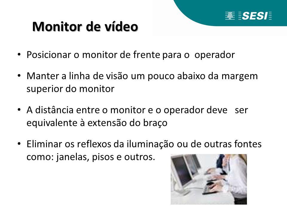 Monitor de vídeo Posicionar o monitor de frente para o operador Manter a linha de visão um pouco abaixo da margem superior do monitor A distância entr