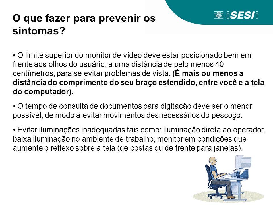 O limite superior do monitor de vídeo deve estar posicionado bem em frente aos olhos do usuário, a uma distância de pelo menos 40 centímetros, para se