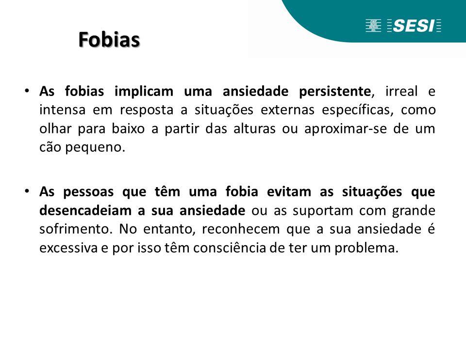 Fobias As fobias implicam uma ansiedade persistente, irreal e intensa em resposta a situações externas específicas, como olhar para baixo a partir das