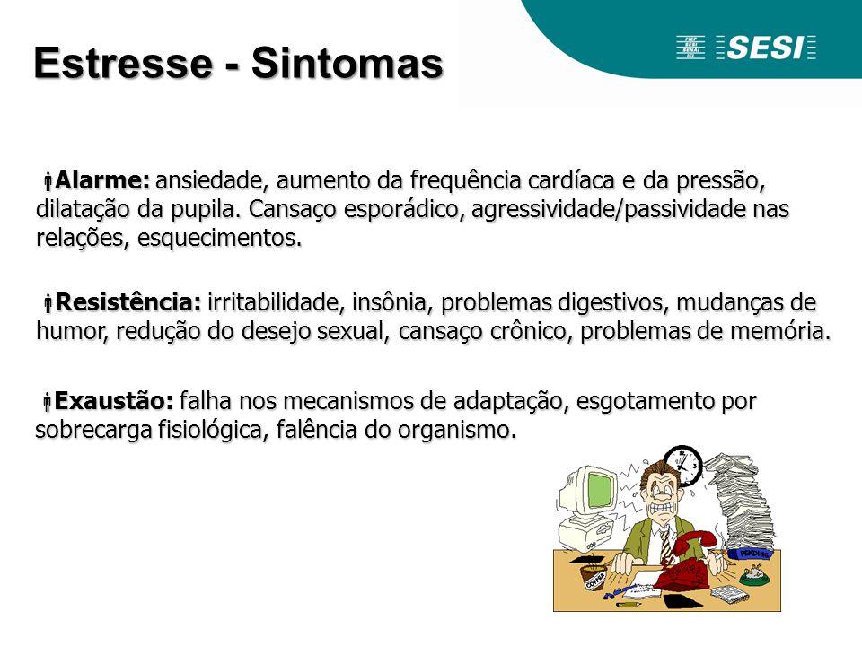 Estresse - Sintomas Alarme: ansiedade, aumento da frequência cardíaca e da pressão, dilatação da pupila. Cansaço esporádico, agressividade/passividade
