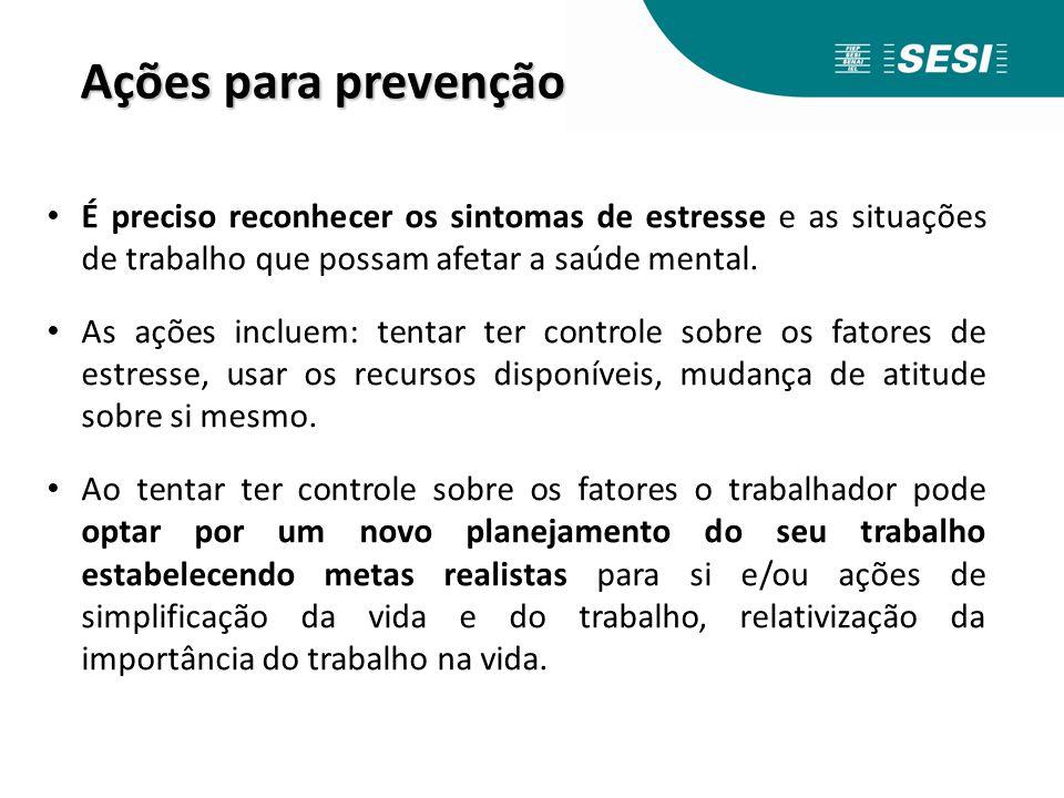 Ações para prevenção É preciso reconhecer os sintomas de estresse e as situações de trabalho que possam afetar a saúde mental. As ações incluem: tenta