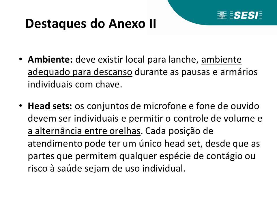 Destaques do Anexo II Ambiente: deve existir local para lanche, ambiente adequado para descanso durante as pausas e armários individuais com chave. He