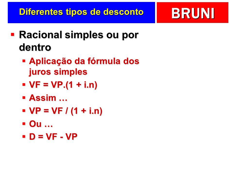 BRUNI Diferentes tipos de desconto Racional simples ou por dentro Racional simples ou por dentro Aplicação da fórmula dos juros simples Aplicação da fórmula dos juros simples VF = VP.(1 + i.n) VF = VP.(1 + i.n) Assim … Assim … VP = VF / (1 + i.n) VP = VF / (1 + i.n) Ou … Ou … D = VF - VP D = VF - VP